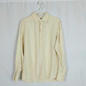 Mens Dockers Linen Shirt Medium 15-15.5 Lt Yellow